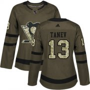 Wholesale Cheap Adidas Penguins #13 Brandon Tanev Green Salute to Service Women's Stitched NHL Jersey