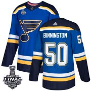 Wholesale Cheap Adidas Blues #50 Jordan Binnington Blue Home Authentic 2019 Stanley Cup Final Stitched NHL Jersey