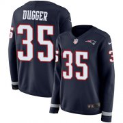 Wholesale Cheap Nike Patriots #35 Kyle Dugger Navy Blue Team Color Women's Stitched NFL Limited Therma Long Sleeve Jersey