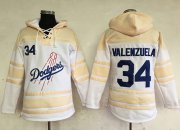 Wholesale Dodgers #34 Fernando Valenzuela White Sawyer Hooded Sweatshirt Baseball Hoodie