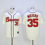 Wholesale Cheap Braves #35 Phil Niekro Cream Throwback Stitched MLB Jersey