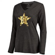 Wholesale Cheap Women's Houston Astros Gold Collection Long Sleeve V-Neck Tri-Blend T-Shirt Black