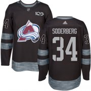 Wholesale Cheap Adidas Avalanche #34 Carl Soderberg Black 1917-2017 100th Anniversary Stitched NHL Jersey