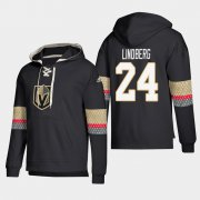 Wholesale Cheap Vegas Golden Knights #24 Oscar Lindberg Black adidas Lace-Up Pullover Hoodie