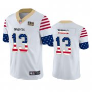 Wholesale Cheap New Orleans Saints #13 Michael Thomas White Men's Nike Team Logo USA Flag Vapor Untouchable Limited NFL Jersey