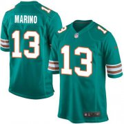 Wholesale Cheap Nike Dolphins #13 Dan Marino Aqua Green Alternate Youth Stitched NFL Elite Jersey