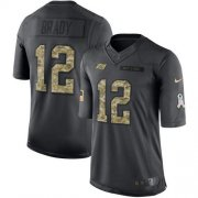 Wholesale Cheap Nike Buccaneers #12 Tom Brady Black Youth Stitched NFL Limited 2016 Salute to Service Jersey