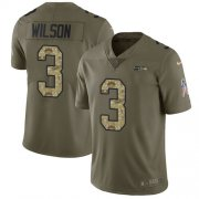 Wholesale Cheap Nike Seahawks #3 Russell Wilson Olive/Camo Youth Stitched NFL Limited 2017 Salute to Service Jersey