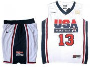 Wholesale Cheap USA Basketball Retro 1992 Olympic Dream Team 13 Chris Paul White Basketball Suit