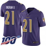 Wholesale Cheap Nike Ravens #21 Mark Ingram II Purple Men's Stitched NFL Limited Rush 100th Season Jersey
