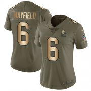 Wholesale Cheap Nike Browns #6 Baker Mayfield Olive/Gold Women's Stitched NFL Limited 2017 Salute to Service Jersey