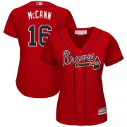 Wholesale Cheap Braves #16 Brian McCann Red Alternate Women's Stitched MLB Jersey