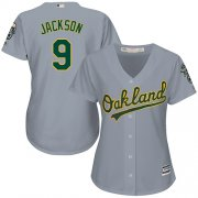 Wholesale Cheap Athletics #9 Reggie Jackson Grey Road Women's Stitched MLB Jersey