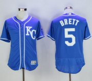 Wholesale Cheap Royals #5 George Brett Royal Blue Flexbase Authentic Collection Stitched MLB Jersey