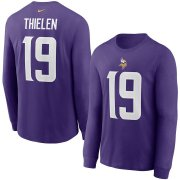 Wholesale Cheap Minnesota Vikings #19 Adam Thielen Nike Player Name & Number Long Sleeve T-Shirt Purple