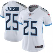 Wholesale Cheap Nike Titans #25 Adoree' Jackson White Women's Stitched NFL Vapor Untouchable Limited Jersey