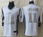 Wholesale Cheap Nike Patriots #11 Julian Edelman White Men's Stitched NFL Limited Platinum Jersey