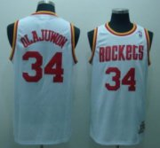 Wholesale Cheap Houston Rockets #34 Hakeem Olajuwon White Swingman Throwback Jersey