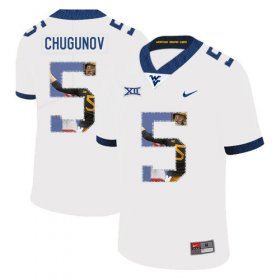 Wholesale Cheap West Virginia Mountaineers 5 Chris Chugunov White Fashion College Football Jersey