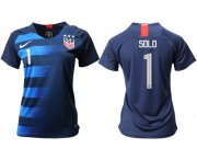 Wholesale Cheap Women's USA #1 Solo Away Soccer Country Jersey