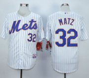 Wholesale Cheap Mets #32 Steven Matz White(Blue Strip) Home Cool Base Stitched MLB Jersey