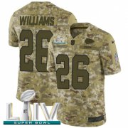 Wholesale Cheap Nike Chiefs #26 Damien Williams Camo Super Bowl LIV 2020 Men's Stitched NFL Limited 2018 Salute To Service Jersey