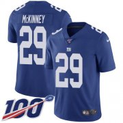Wholesale Cheap Nike Giants #29 Xavier McKinney Royal Blue Team Color Men's Stitched NFL 100th Season Vapor Untouchable Limited Jersey
