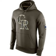 Wholesale Cheap Men's Colorado Rockies Nike Olive Salute To Service KO Performance Hoodie