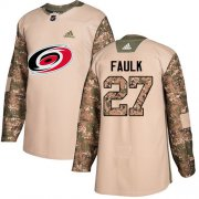 Wholesale Cheap Adidas Hurricanes #27 Justin Faulk Camo Authentic 2017 Veterans Day Stitched Youth NHL Jersey