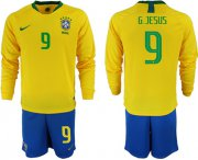Wholesale Cheap Brazil #9 G.Jesus Home Long Sleeves Soccer Country Jersey