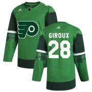 Wholesale Cheap Philadelphia Flyers #28 Claude Giroux Men's Adidas 2020 St. Patrick's Day Stitched NHL Jersey Green