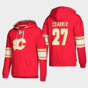 Wholesale Cheap Calgary Flames #27 Austin Czarnik Red adidas Lace-Up Pullover Hoodie