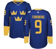 Wholesale Cheap Team Sweden #9 Filip Forsberg Blue 2016 World Cup Stitched NHL Jersey