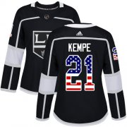 Wholesale Cheap Adidas Kings #21 Mario Kempe Black Home Authentic USA Flag Women's Stitched NHL Jersey