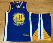 Wholesale Cheap Men's Golden State Warriors #11 Klay Thompson Blue 2017-2018 Nike Swingman Rakuten Stitched NBA Jersey With Shorts