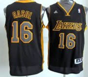 Wholesale Cheap Los Angeles Lakers #16 Pau Gasol Revolution 30 Swingman All Black With Yellow Jersey