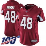 Wholesale Cheap Nike Cardinals #48 Isaiah Simmons Red Team Color Women's Stitched NFL 100th Season Vapor Untouchable Limited Jersey