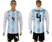 Wholesale Cheap Argentina #4 Pezzella Home Long Sleeves Soccer Country Jersey