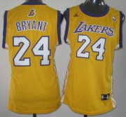 Wholesale Cheap Los Angeles Lakers #24 Kobe Bryant Yellow Womens Jersey