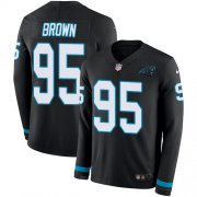 Wholesale Cheap Nike Panthers #95 Derrick Brown Black Team Color Men's Stitched NFL Limited Therma Long Sleeve Jersey