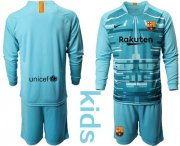 Wholesale Cheap Barcelona Blank Light Blue Goalkeeper Long Sleeves Kid Soccer Club Jersey