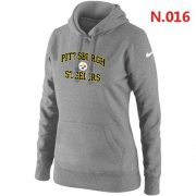 Wholesale Cheap Women's Nike Pittsburgh Steelers Heart & Soul Pullover Hoodie Light Grey
