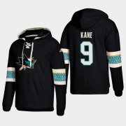 Wholesale Cheap San Jose Sharks #9 Evander Kane Black adidas Lace-Up Pullover Hoodie