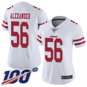 Wholesale Cheap Nike 49ers #56 Kwon Alexander White Women's Stitched NFL 100th Season Vapor Limited Jersey