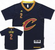 Wholesale Cheap Men's Cleveland Cavaliers #2 Kyrie Irving Revolution 30 Swingman 2015-16 New Navy Blue Short-Sleeved Jersey