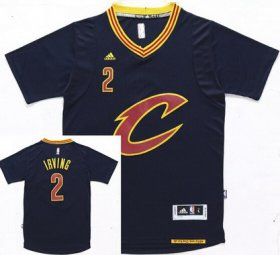 Wholesale Cheap Men\'s Cleveland Cavaliers #2 Kyrie Irving Revolution 30 Swingman 2015-16 New Navy Blue Short-Sleeved Jersey