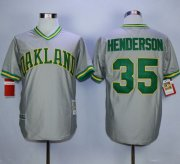 Wholesale Cheap Mitchell And Ness Athletics #35 Rickey Henderson Grey Stitched MLB Jersey