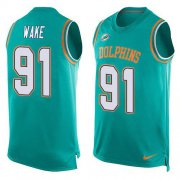 Wholesale Cheap Nike Dolphins #91 Cameron Wake Aqua Green Team Color Men's Stitched NFL Limited Tank Top Jersey