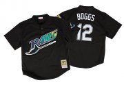 Wholesale Cheap Mitchell And Ness 1998 Rays #12 Wade Boggs Black Throwback Stitched MLB Jersey