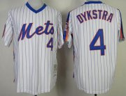 Wholesale Mitchell and Ness Mets #4 Len Dykstra White Blue Strip Stitched Baseball Jersey